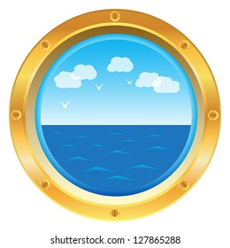 Vector golden yellow porthole window with sea view on white background