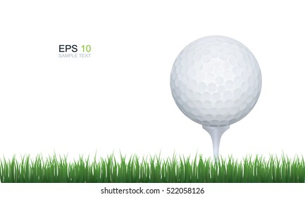 Vector golf ball in green grass isolated on white.