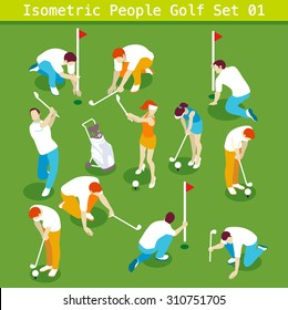 Vector Golf Collection Summer Games Icon Sport Set. 3D Isometric People Athlete. Sporting Championship People Golf Competition. Isometric Sport Person Infographic events Golf Vector 3D Illustration