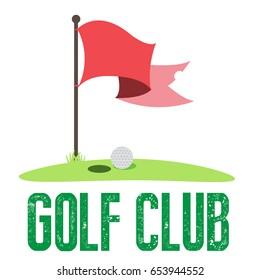 Vector Golf Flag with Ball near Hole with next