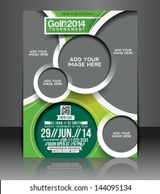 Vector Golf Tournament Brochure, Flyer, Magazine Cover & Poster Template