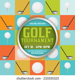A vector golf tournament flyer design. EPS 10. EPS file contains transparencies. Text has been converted to outlines and is on its' own layer.