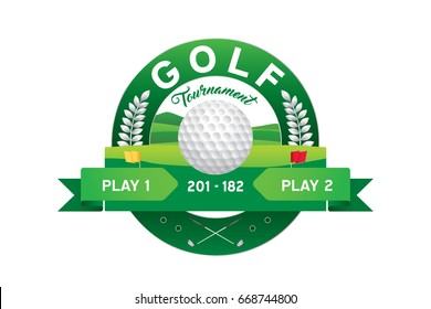 Vector of golf tournament with player and scoreboard.