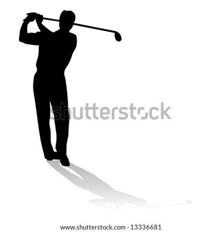 Vector Golfer Silhouette Stock Vektorgrafik Lizenzfrei 13336681