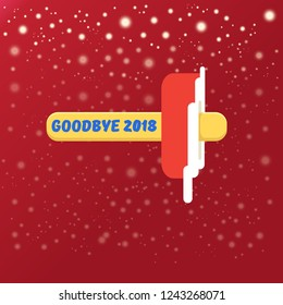 vector goodbye 2018 year vector concept illustration with melt ice cream isolated on red background with lights and stars. End of the year background or poster