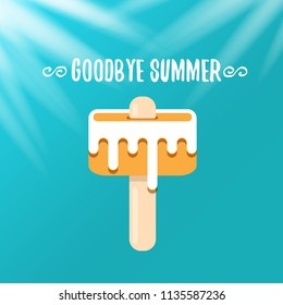 vector goodbye summer vector concept illustration with melt pink ice cream with stick on azure background. End of summer background