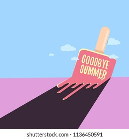vector goodbye summer vector concept illustration with melt ice cream on blue sky background. End of summer background