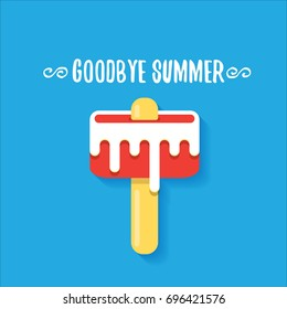 vector goodbye summer vector concept illustration with melt ice cream on blue background. End of summer background