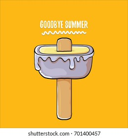 vector goodbye summer vector concept illustration with melt blue ice cream with stick on orange background. End of summer background