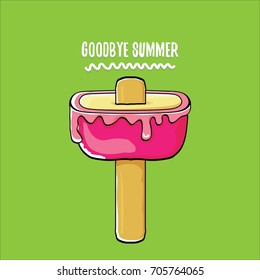 vector goodbye summer vector concept illustration with melt pink ice cream with stick on green background. End of summer background