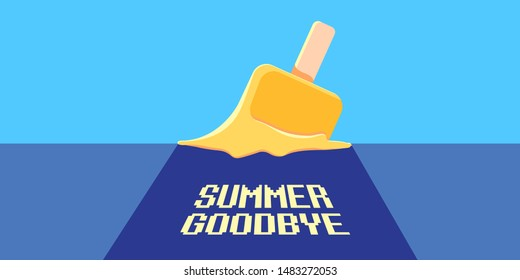 vector goodbye summer vintage concept horizontal illustration with melt ice cream laying on the road and ultraviolet sky background. End of summer horizontal background or banner