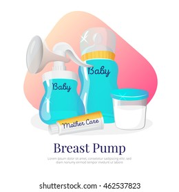 Vector goods for expression of breast milk. Newborn accessories illustration in cartoon style: breast pump, milk bottle, container, woman breast cream.
