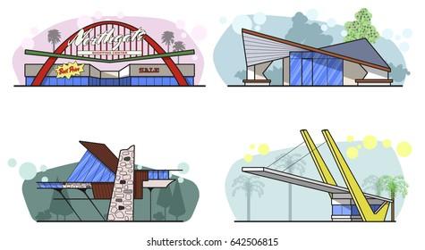 Vector Googie Architecture Mid Century Building Set