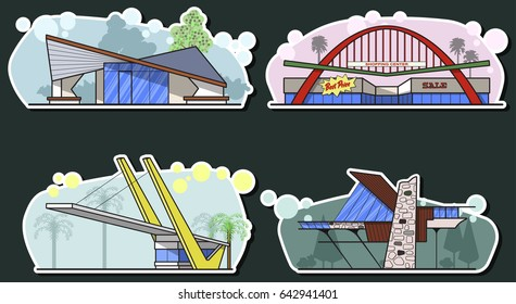 Vector Googie Architecture Mid Century Buildings Set