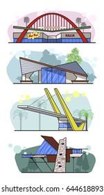 Vector Googie Architecture Mid Century Buildings