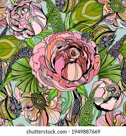 Vector gorgeous floral seamless pattern with pink roses, peonies, violet flowers and green leaves in a beautiful graphic style.Can be perfect for wallpaper, fabric, gifts, sport or easy wear.