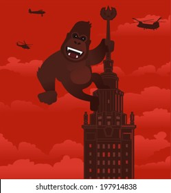 Vector gorilla on a skyscraper