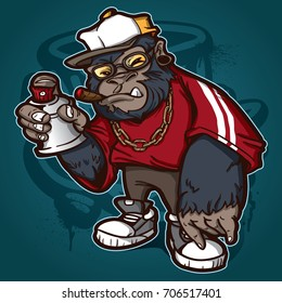 vector gorilla painting graffiti