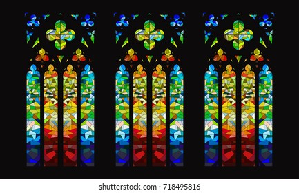 Vector Gothic Stained-Glass Window Design