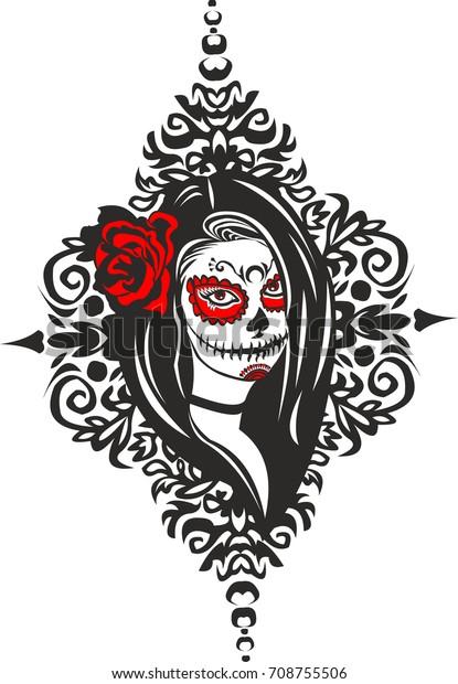 Vetor Stock De Vector Gotic Girl Santa Muerte Livre De Direitos