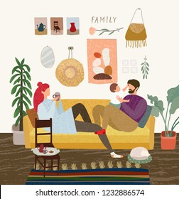 vector gouache illustration of a happy family at home on the sofa in the living room, mom drinks coffee, the father is playing with the child, the cat is sleeping on the carpet