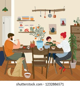 vector gouache painted flat illustration of a happy family at home in the kitchen for lunch, dinner or breakfast, mother, father, child and dog in a cozy apartment are sitting at the table and eating
