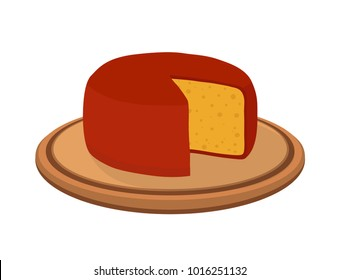 Vector gouda cheese block on plate. Slice, chunk on wooden tray in cartoon flat style. Farm market product for label, poster, icon, packaging. Dairy product