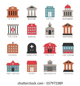 Vector government building colored icons. Municipal city architecture symbols isolated on white background. University and firehouse, cemetery and library illustration