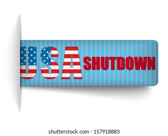 Vector - Government Shutdown USA Closed Banners.