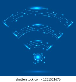 Vector GPRS Logo. Radio Wave Icon. Wireless Network Symbol Isolated on Blue Background. Mobile Conceptual Emblem