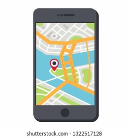 Vector GPS navigation icon phone with location point. On the screen of the smartphone, a map of the city indicating the location. Phone GPS illustration in flat line minimalism style.