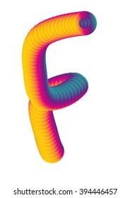 vector gradient color blended alphabet F letter