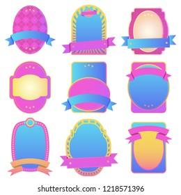 Vector gradient design template labels shape set