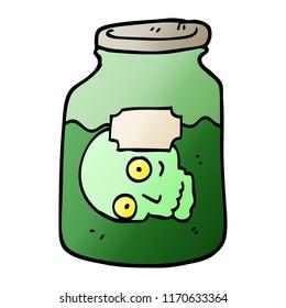 vector gradient illustration cartoon head in jar