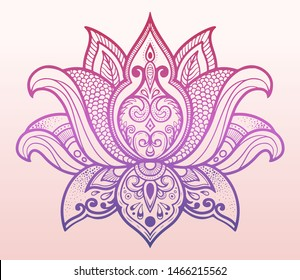 Vector gradient ornamental lotus. Ethic boho style with patterns, pink and blue colors. Yoga, India template
