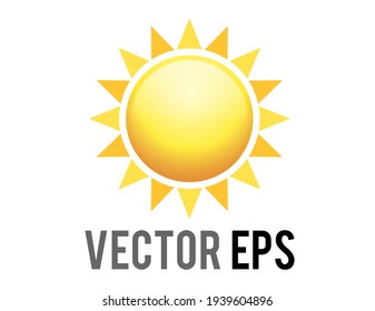 The vector gradient shinny orange sun icon with eight triangularrays, represent sunny, warm, hot weather, light, heat, energy, life, outer space, astronomy, positive and happy feelings