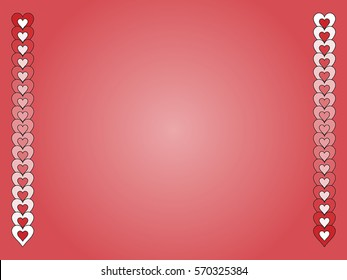 Vector gradient valentine background with red and white hearts.