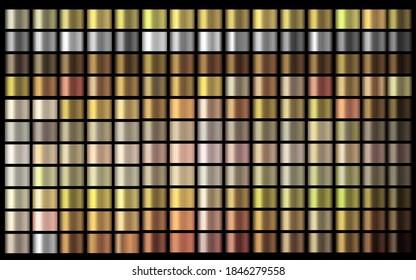 Vector Gradients autumn collection. Gold, golden, gold rose, silver, bronze, copper, chrome colors gradient set. Shiny, elegant colors for chrome border logo label design, packaging frame ribbon award