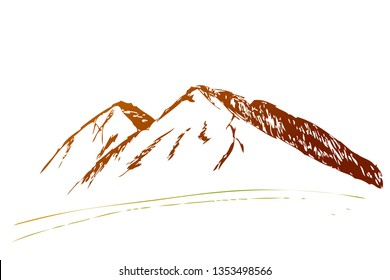 vector gradual brown and green simple hand draw sketch, 2 mountain for logo, or element design