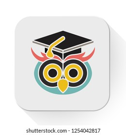 vector graduate owl icon. Flat illustration of education wisdom. knowledge concept isolated on white background. graduation sign symbol