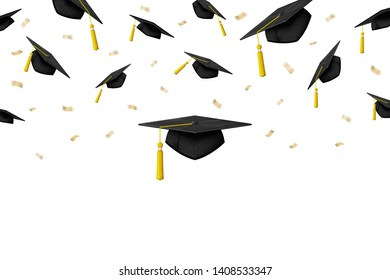 Vector graduation banner with ceremony caps in air on white background.