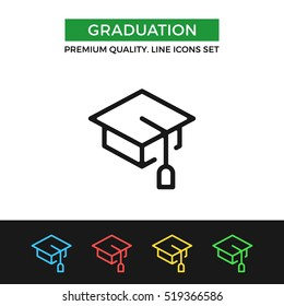 Vector graduation icon. Education, academic degree. Premium quality graphic design. Signs, outline symbols collection, simple thin line icons set for websites, web design, mobile app, infographics