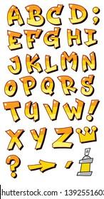 Vector graffiti fonts letters alphabet for design logos