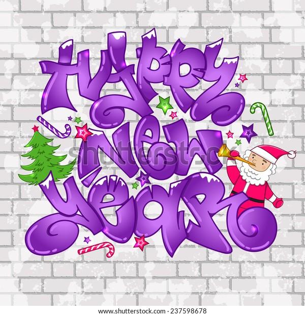 Christmas Graffiti Background.Vector Graffiti Happy New Year Urban Stock Vector Royalty