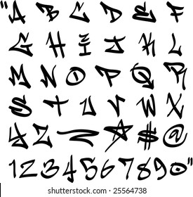 vector graffiti marker alphabet and numbers