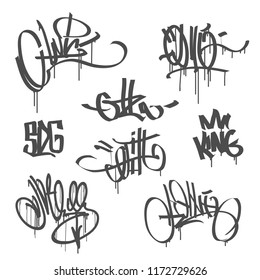 Vector Graffiti New school hip hop hand drawn calligraphy tags isolated on white background. Hip Hop tags without meaning for print fabric and textile. Spray paint graffiti tags for pattern design