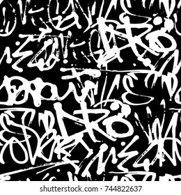 Vector graffiti seamless pattern with abstract tags, letters without meaning. Fashion hand drawing texture, street art retro style, old school design for t-shirt, textile, wrapping paper, black white