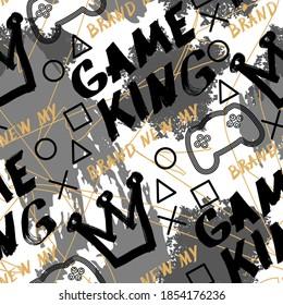 Vector graffiti style seamless abstract pattern, joysticks gamepad illustration. paint drips. Modern print. Textiles, print, t-shirts, shapes and doodle objects. Abstract modern trendy vector illustra