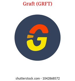 Vector Graft (GRFT) digital cryptocurrency logo. Graft (GRFT) icon. Vector illustration isolated on white background.