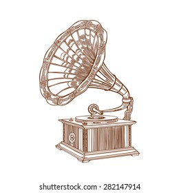 Vector gramophone on a white background. Gramophone sign, gramophone logo, gramophone icon.